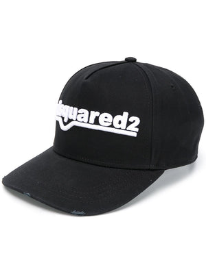 DSQUARED2 Curved Logo Cap Black/White