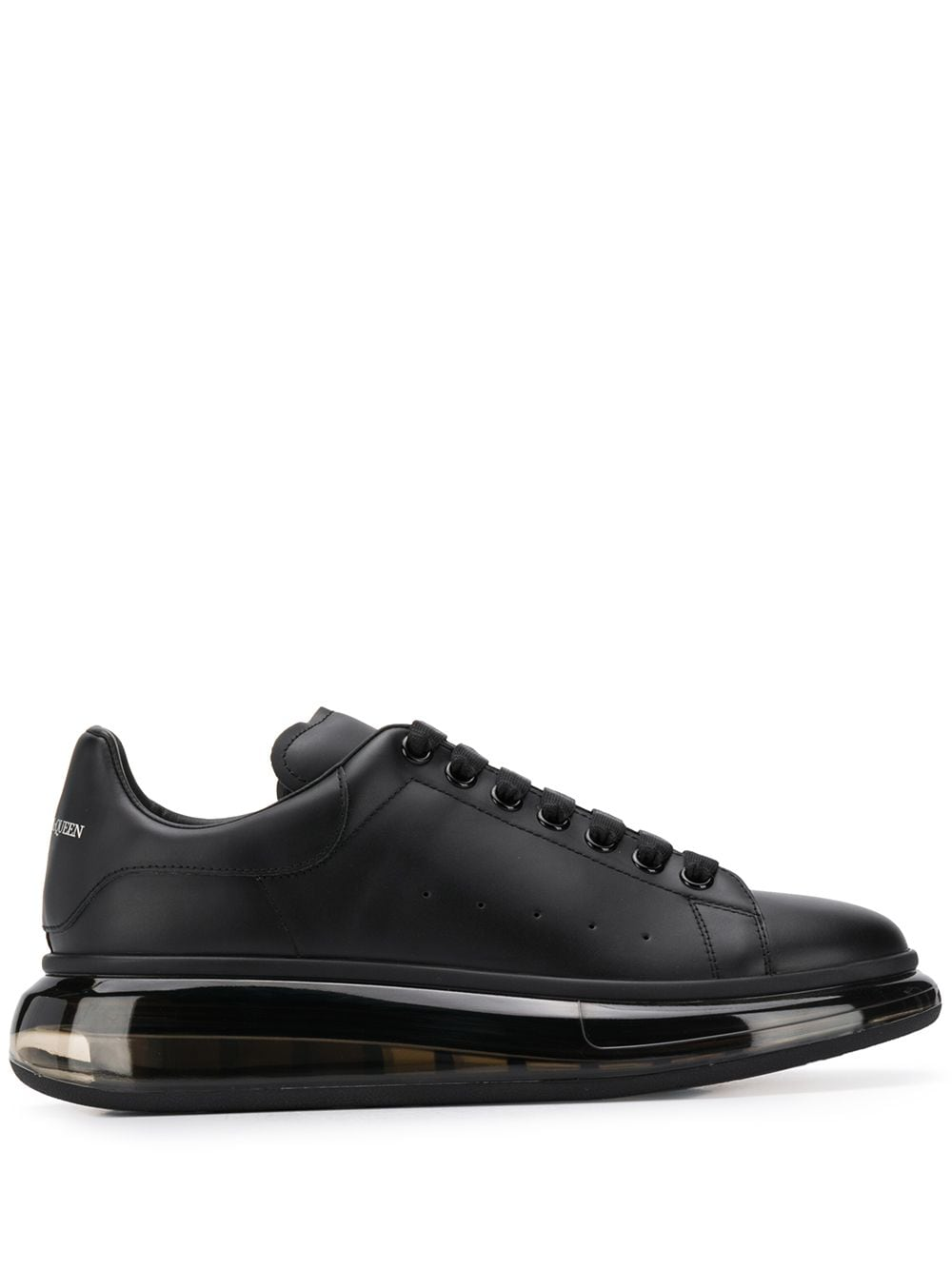 Alexander McQueen Oversized Clear Sole leather sneakers black - Maison De Fashion