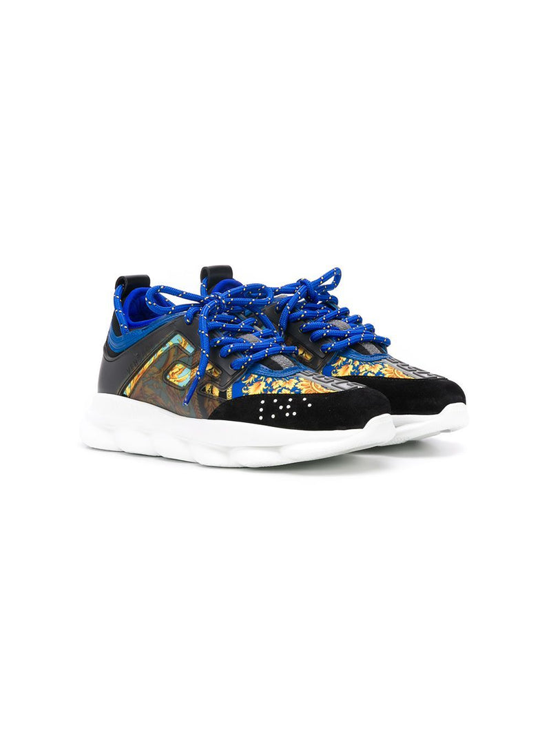 VERSACE KIDS baroque low-top sneakers blue/yellow