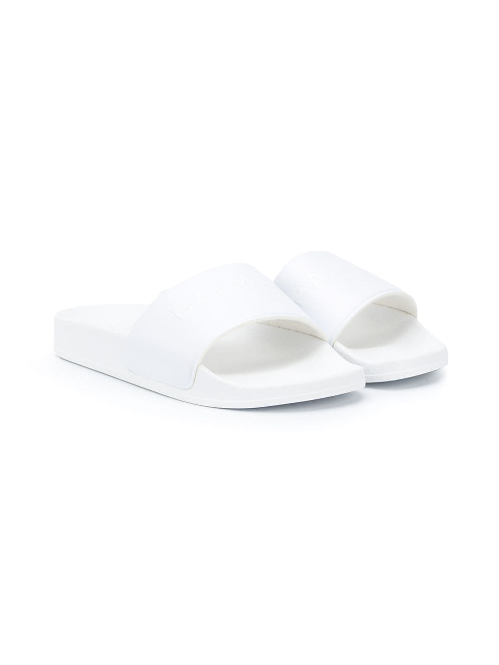 BALMAIN KIDS logo embossed pool sliders white/white - Maison De Fashion