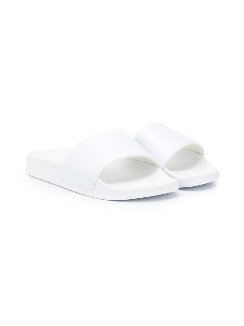BALMAIN KIDS logo embossed pool sliders white/white