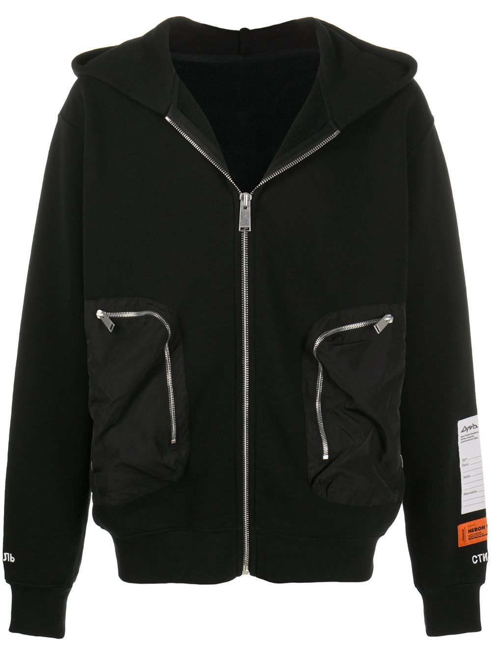HERON PRESTON Pocket Hoodie Black - Maison De Fashion