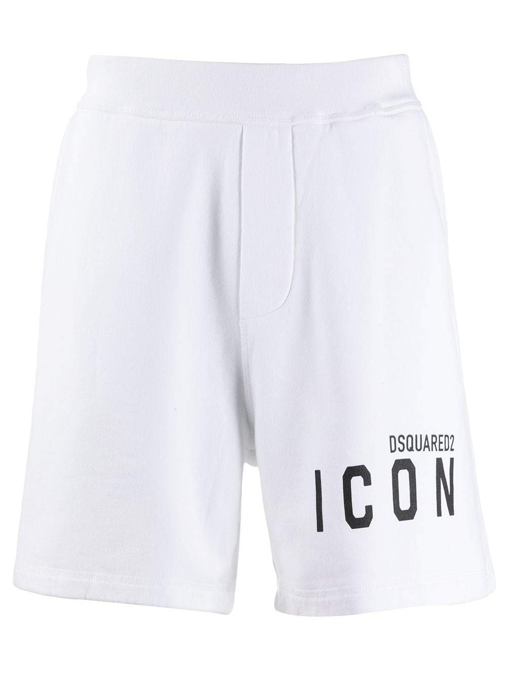 DSQUARED2 icon logo-print track shorts white