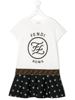 FENDI KIDS logo printed t-shirt dress white