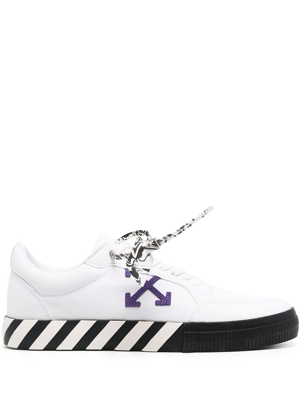 OFF-WHITE Low Vulcanized Canvas Sneakers White/Purple - Maison De Fashion