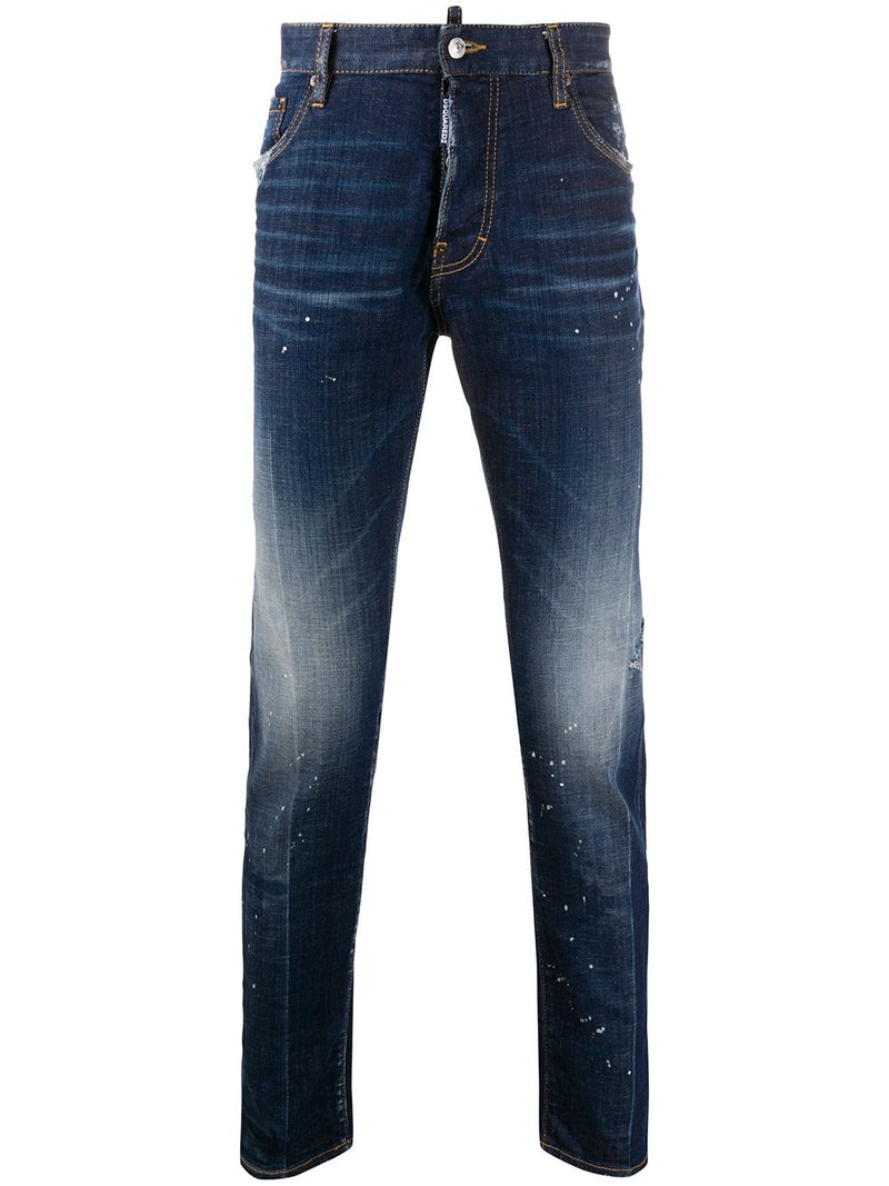 DSQUARED2 Splatter Effect Slim Fit Jeans Blue