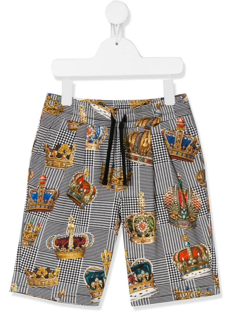 DOLCE & GABBANA KIDS Crown Print Shorts
