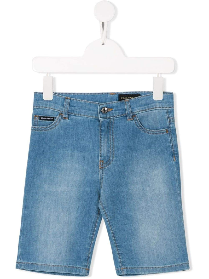 DOLCE & GABBANA KIDS logo patch denim shorts