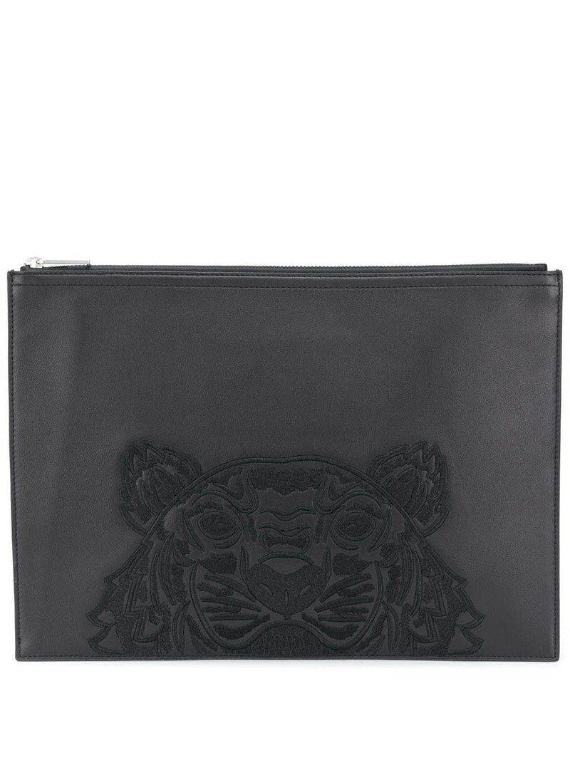 Kenzo Tiger Embroidered Zipped Clutch Black