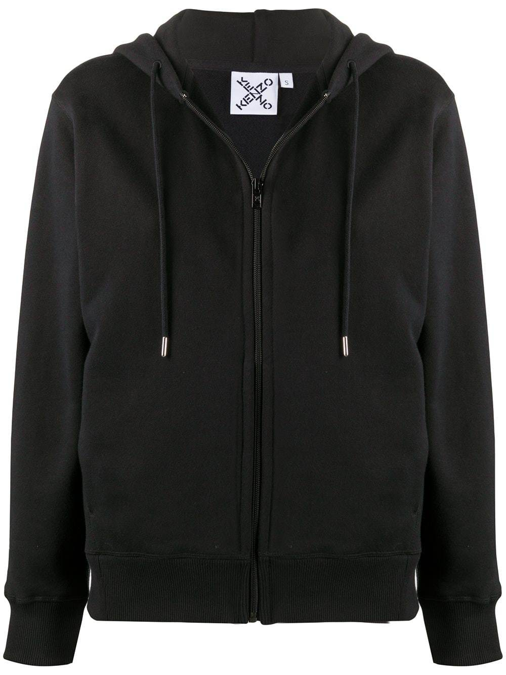 KENZO WOMEN Cross Logo Zip-up Jacket Black