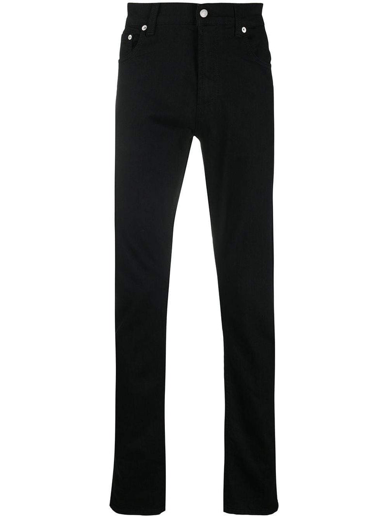 ALEXANDER MCQUEEN Skull Embroiled Logo Patch Jeans Black