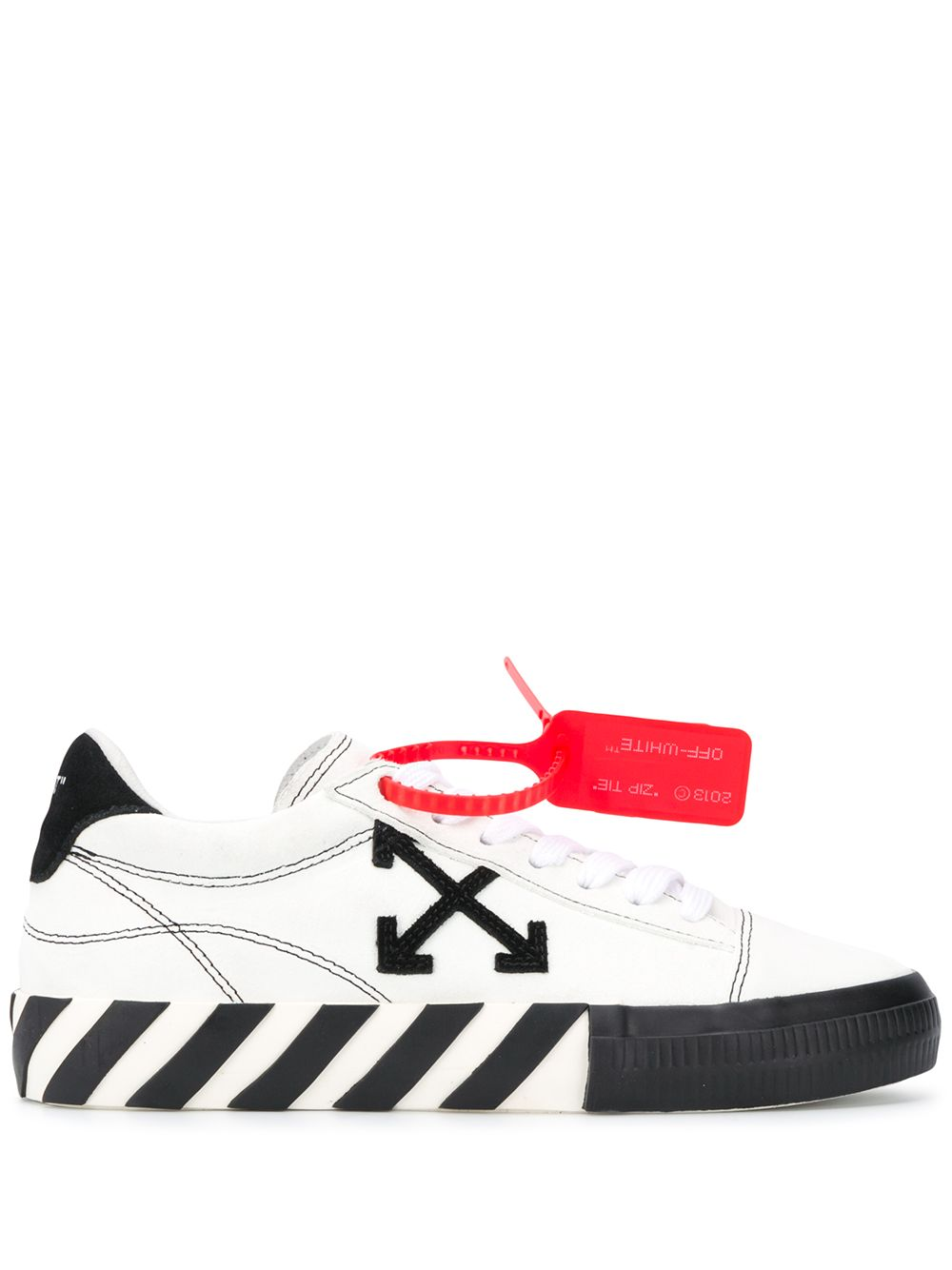 OFF-WHITE Contrast Stitched Low Vulcanized Sneakers White - Maison De Fashion