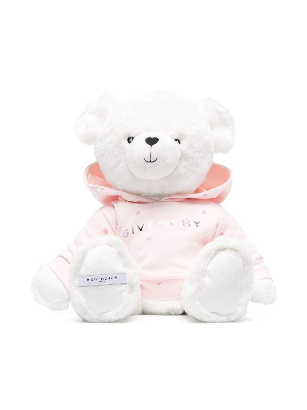 GIVENCHY KIDS Logo embroidered bear soft toy White/Pink