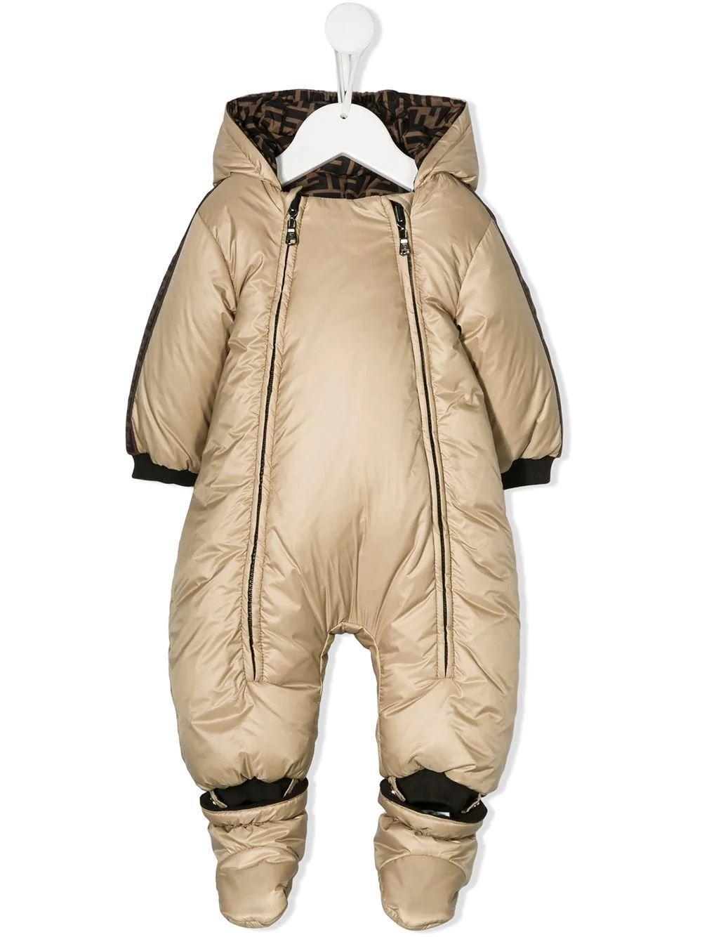 FENDI KIDS hooded padded snowsuit light brown - Maison De Fashion