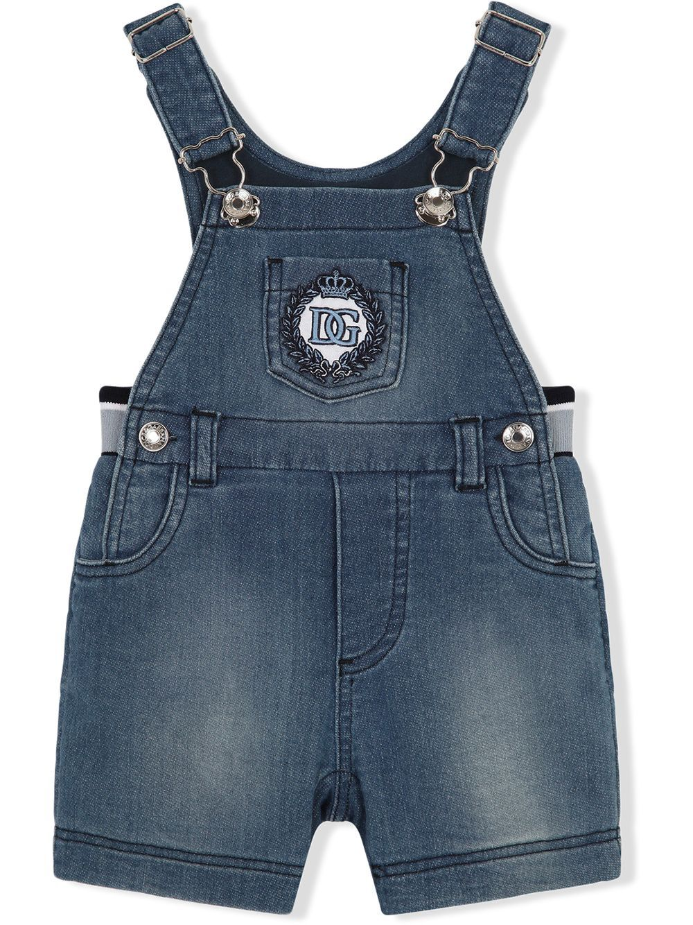 DOLCE & GABBANA BABY Logo-embroidered denim Dungaree's Blue