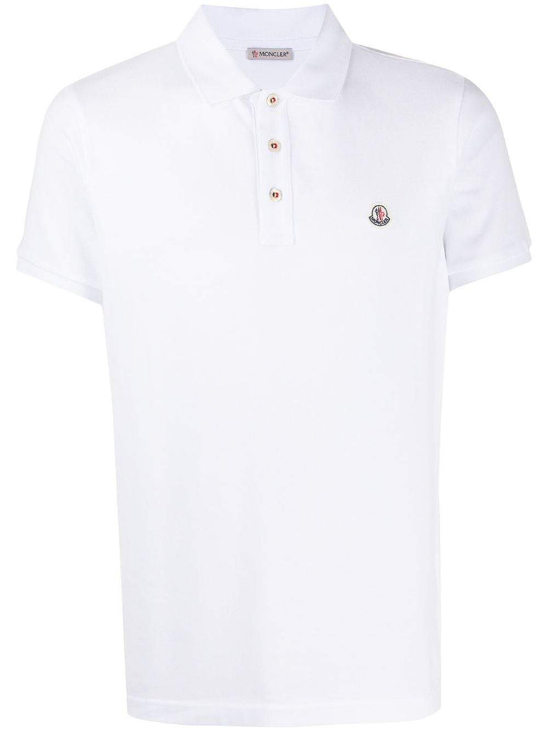 MONCLER logo patch polo shirt white - Maison De Fashion
