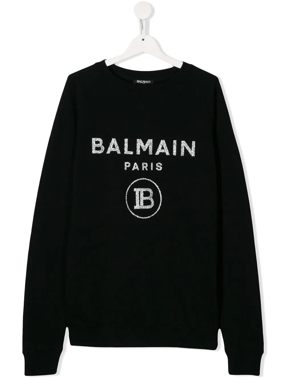 BALMAIN KIDS printed logo sweatshirt black - Maison De Fashion
