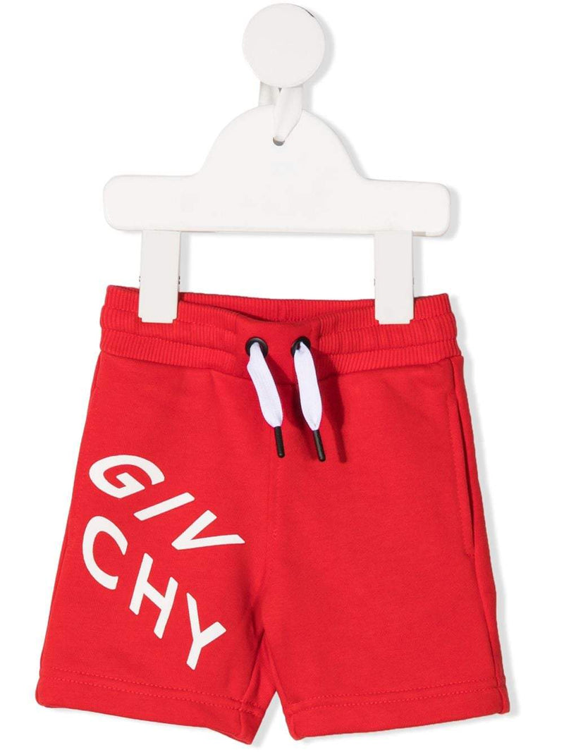 GIVENCHY BABY Logo-print track shorts Red