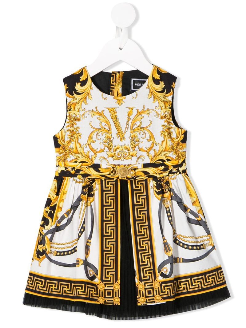 VERSACE KIDS baby baroque print dress gold/white - Maison De Fashion