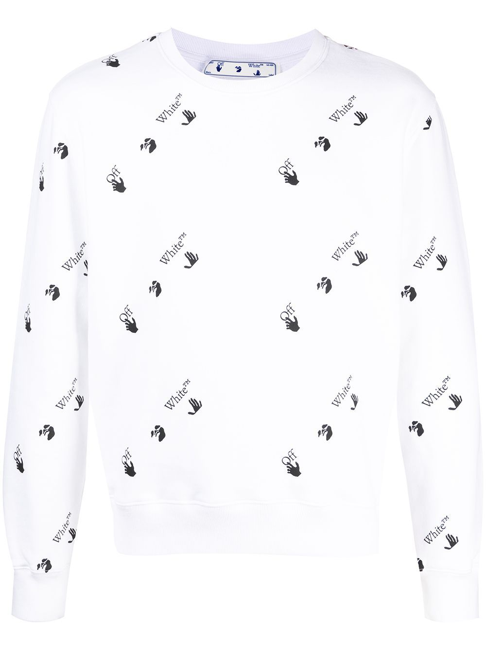 OFF-WHITE All Over Logo Slim Sweatshirt White