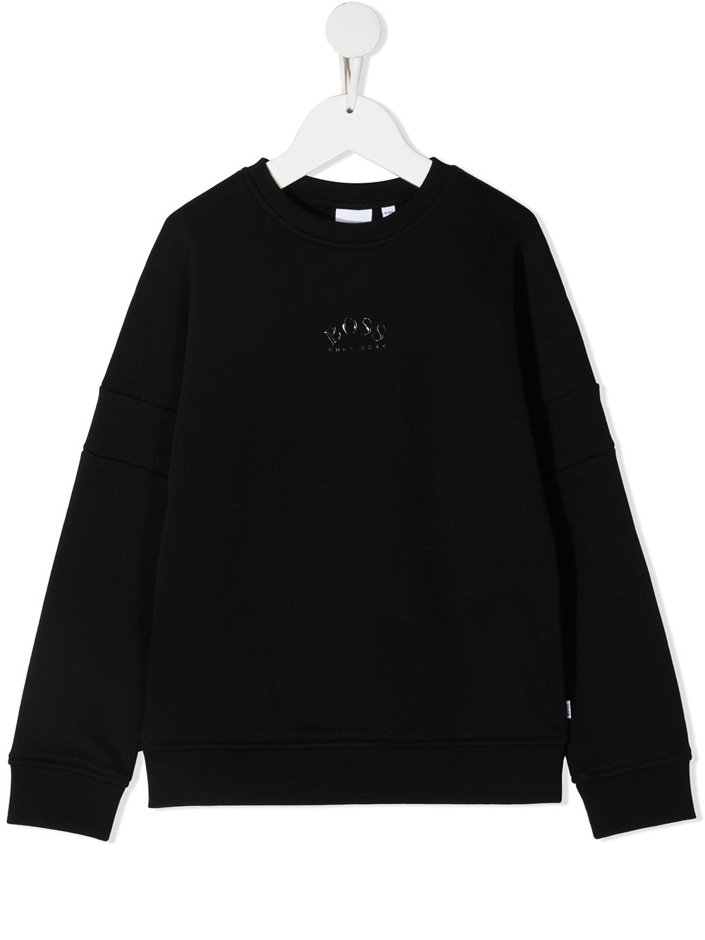 BOSS KIDS Curved Logo Sweatshirt Black