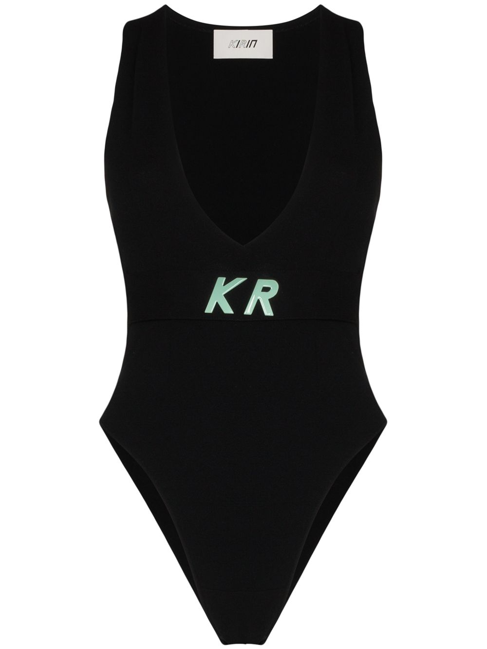 KIRIN logo detail knit bodysuit black - Maison De Fashion