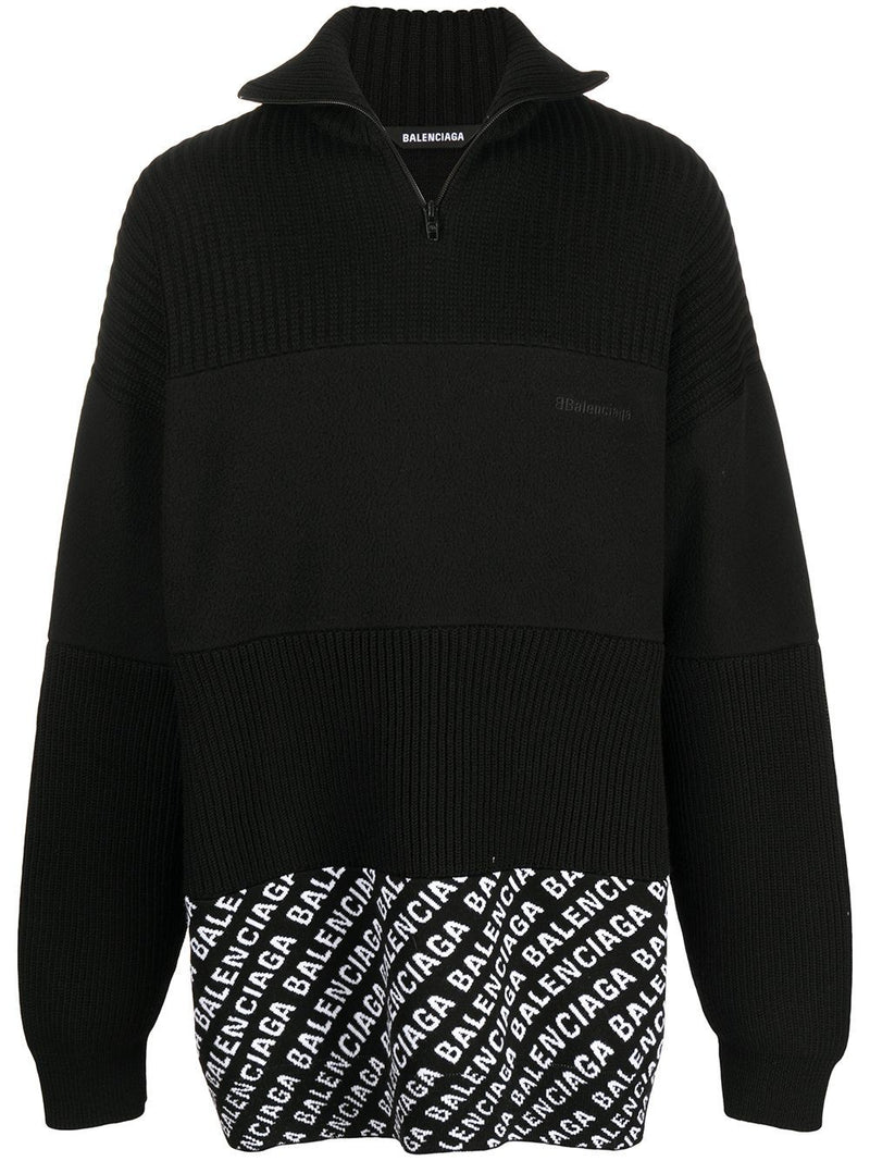 BALENCIAGA Logo print panelled zip up Jumper Black - Maison De Fashion
