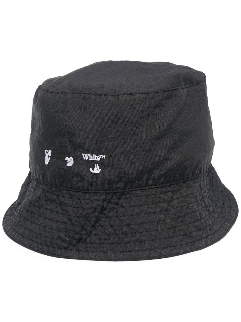 OFF-WHITE Logo Print Bucket Hat Black