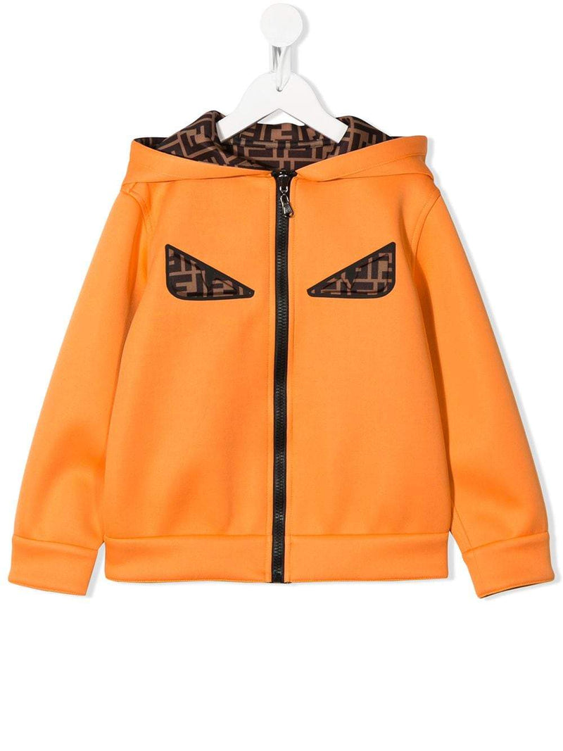 FENDI KIDS eyes reversible hoodie orange
