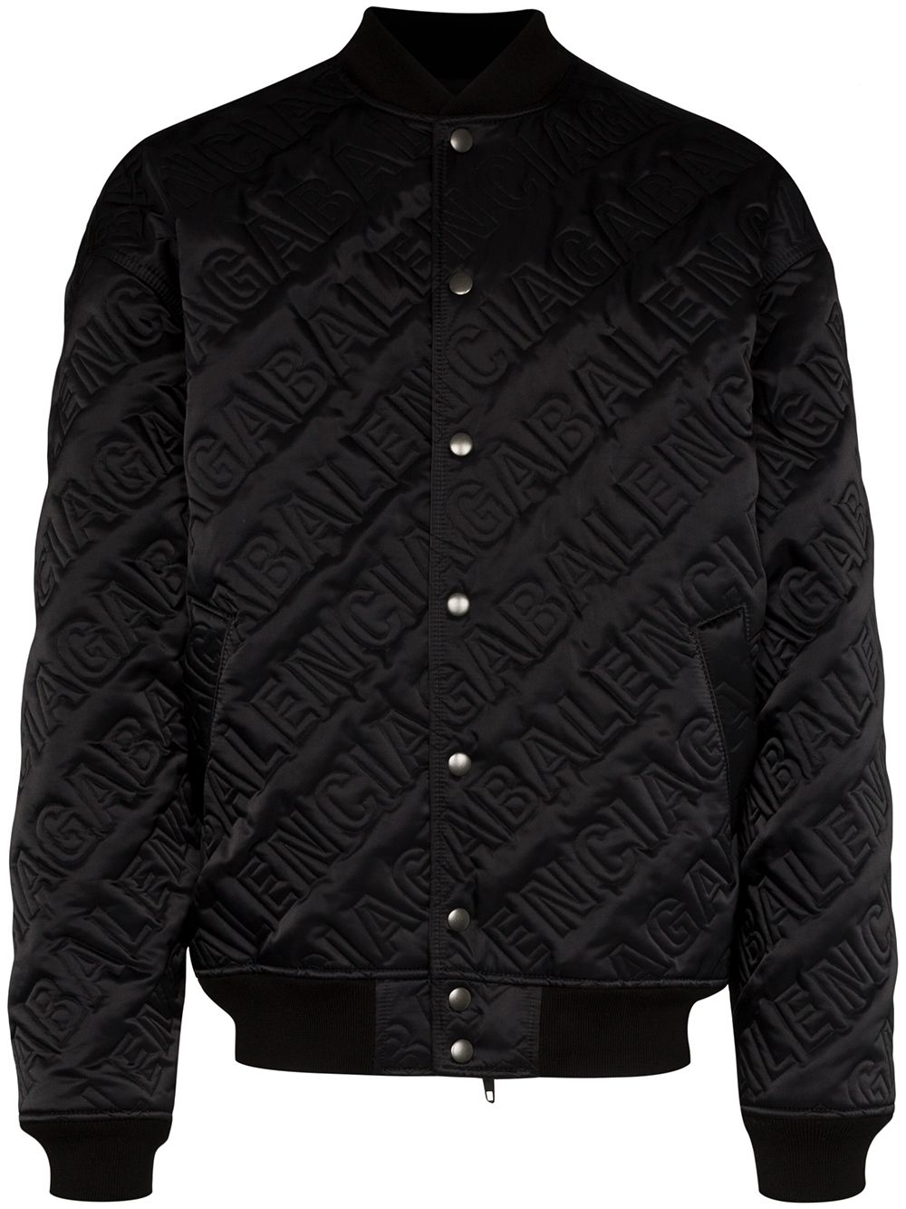 BALENCIAGA quilted embroidered logo bomber jacket black