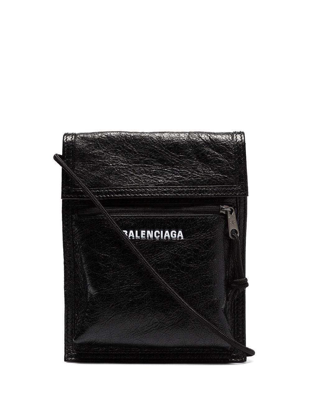 BALENCIAGA explorer cracked leather messenger bag black
