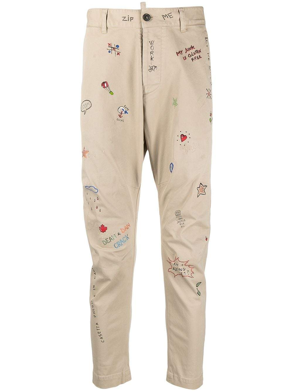 DSQUARED2 Doodle-Print Chino Trousers
