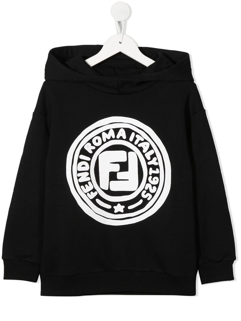 FENDI KIDS Circle Logo Sweatshirt Black/White
