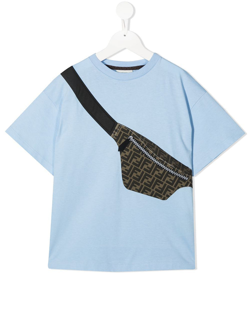 FENDI KIDS Crossbody Bag Print T-Shirt Blue