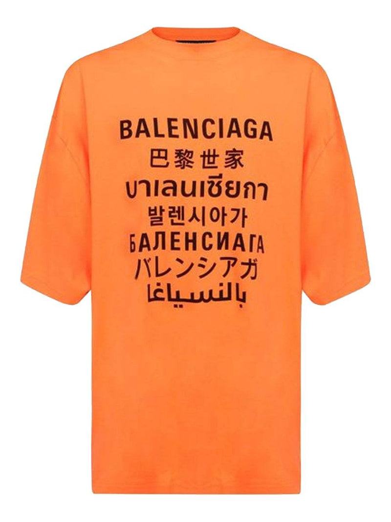 Balenciaga Languages Print T-Shirt Orange