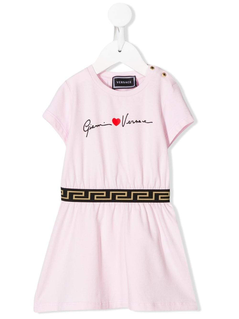 VERSACE KIDS baby dropped waist logo dress pink - Maison De Fashion