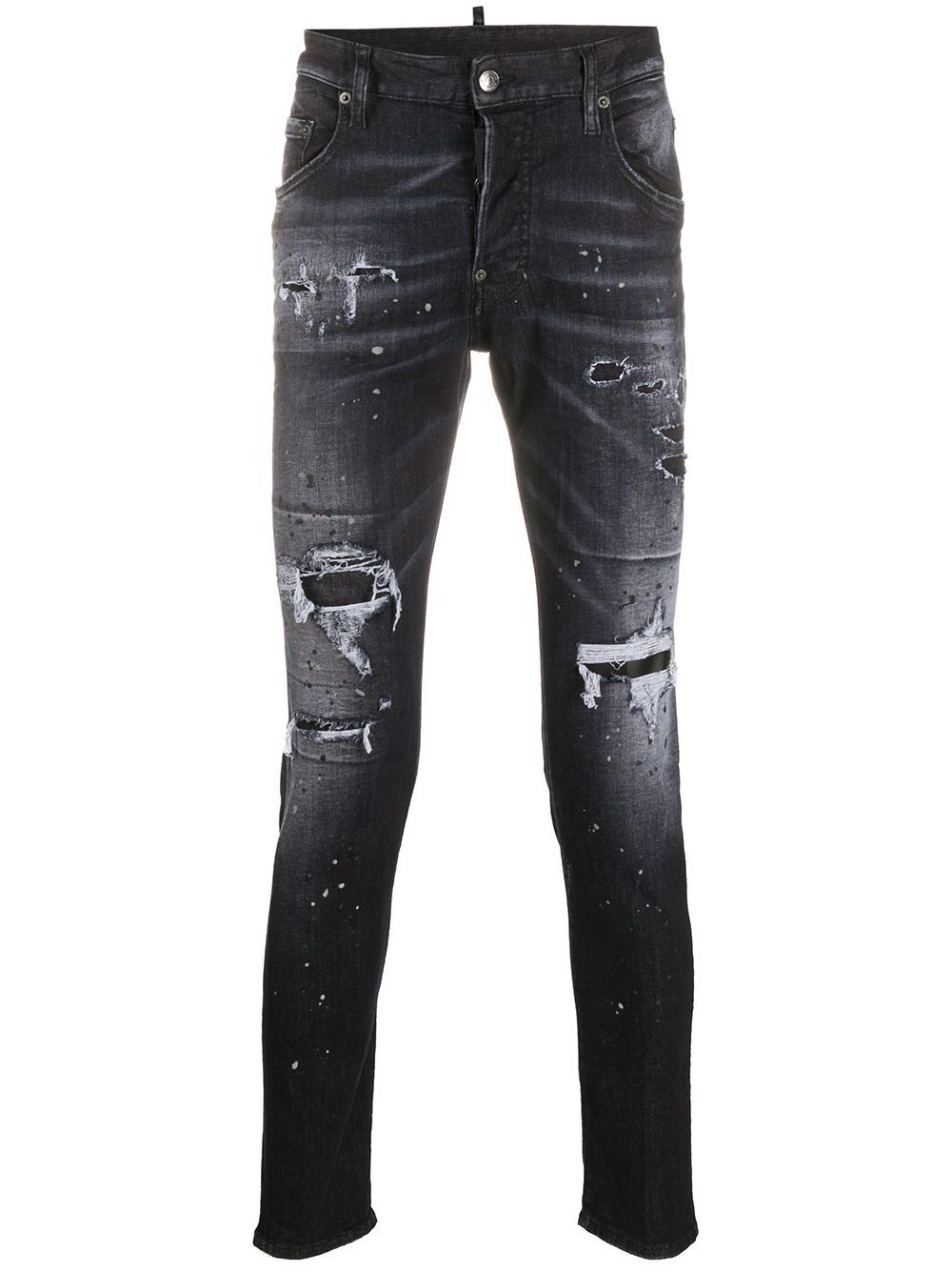 DSQUARED2 Logo print washed Jeans Black