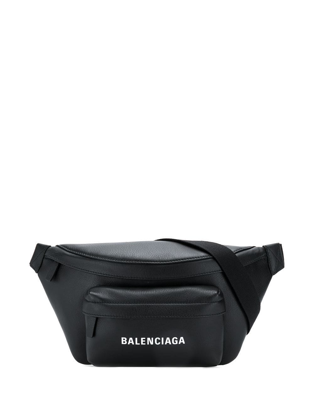 BALENCIAGA logo belt bag black