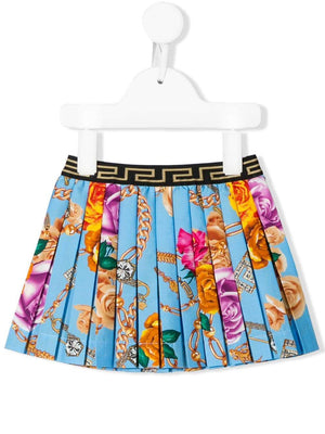 VERSACE KIDS baby floral-print pleated skirt
