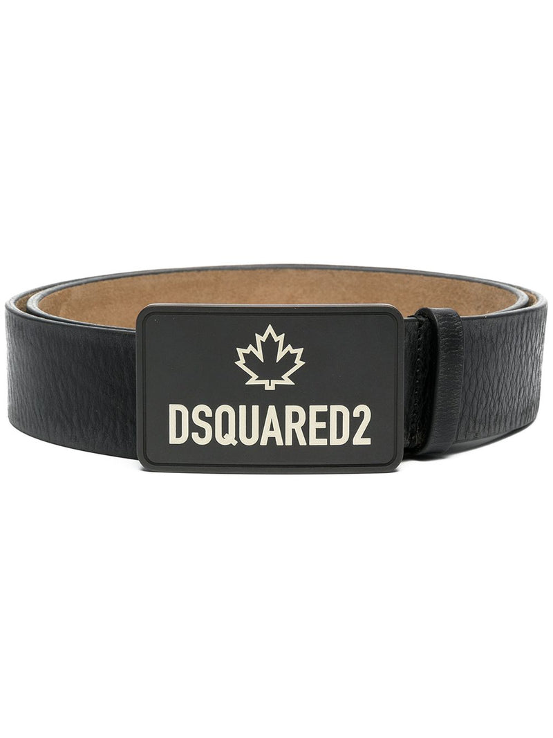 DSQUARED2 Logo Print Leather Belt Black