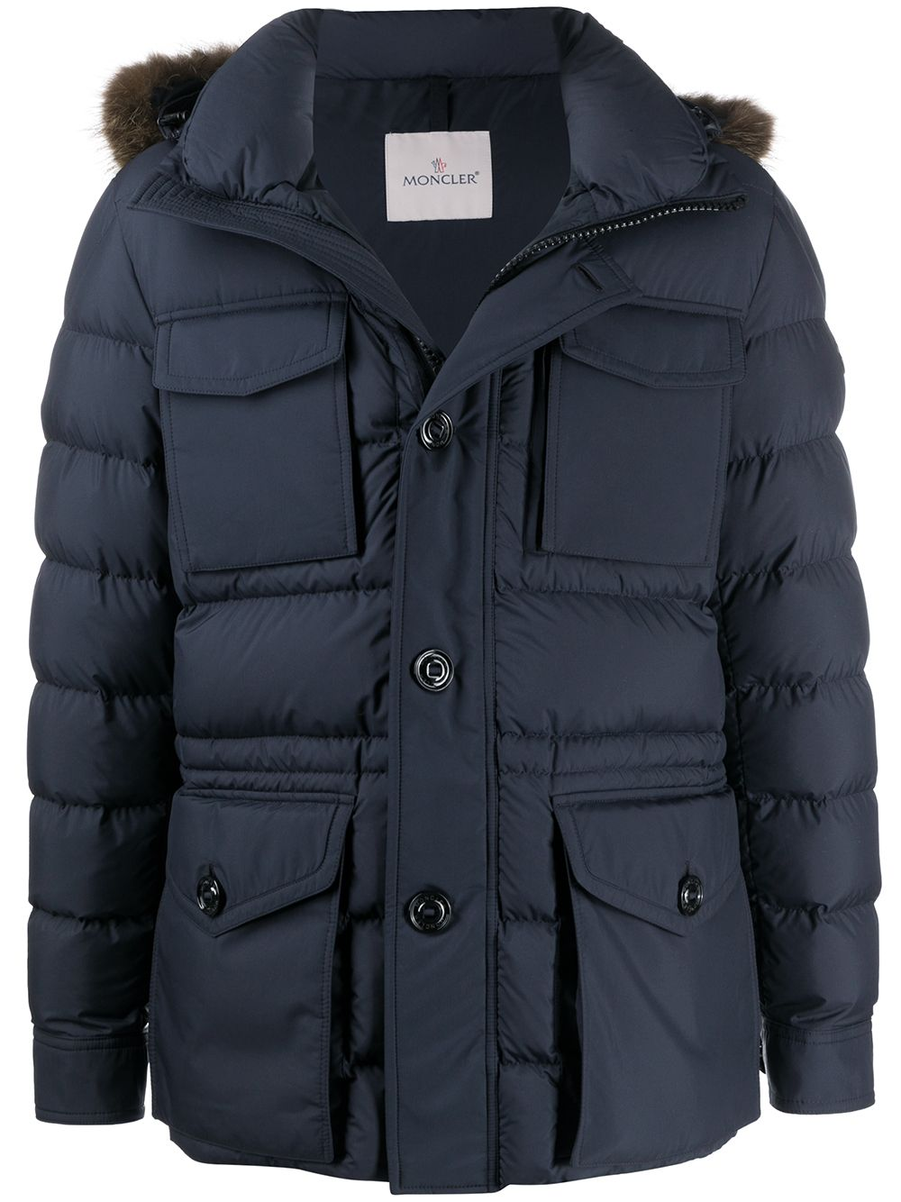 Moncler Parka coat with fur hood navy