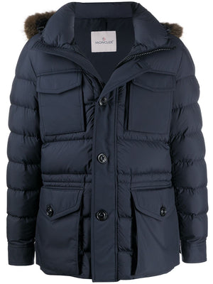 Moncler Fur Hood Parka Coat Navy - Maison De Fashion