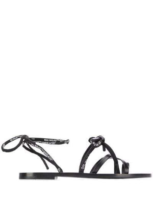 OFF-WHITE shoe laces flat sandal black - Maison De Fashion