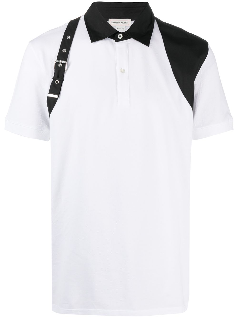 ALEXANDER MCQUEEN Buckle Harness Polo Shirt White/Black