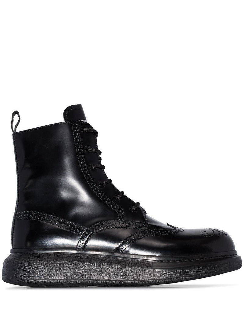 ALEXANDER MCQUEEN Chunky Sole Derby Boots Black