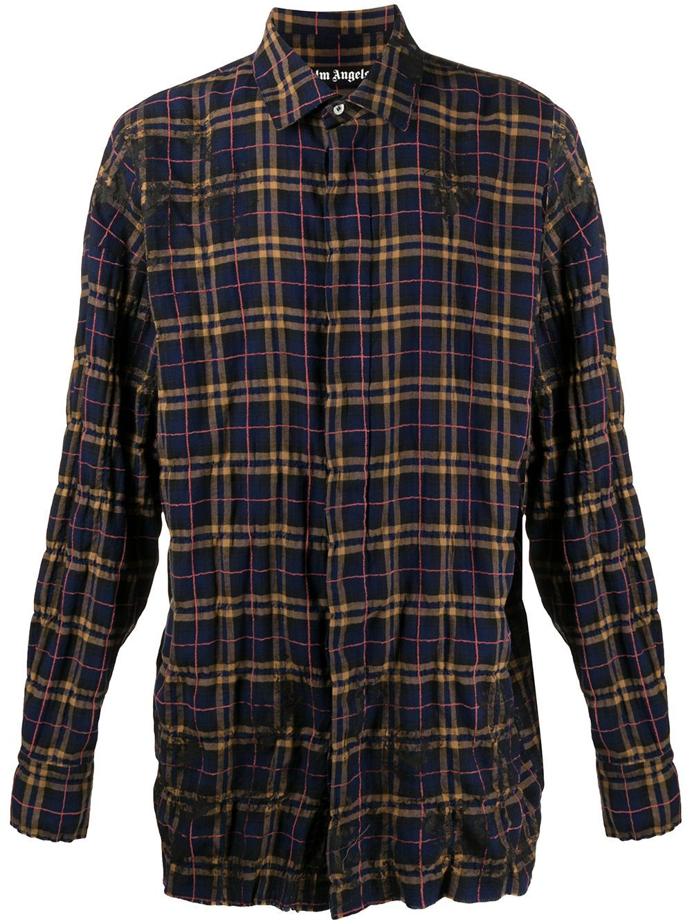 PALM ANGELS Checked Logo Print Shirt