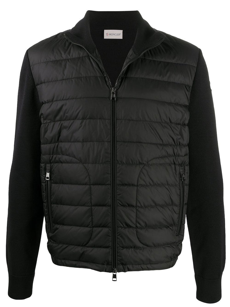 MONCLER padded-panel knitted jacket black