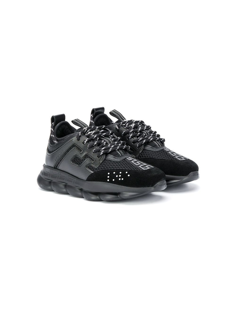 VERSACE Kids Chain Reaction Sneakers Black/Black - Maison De Fashion