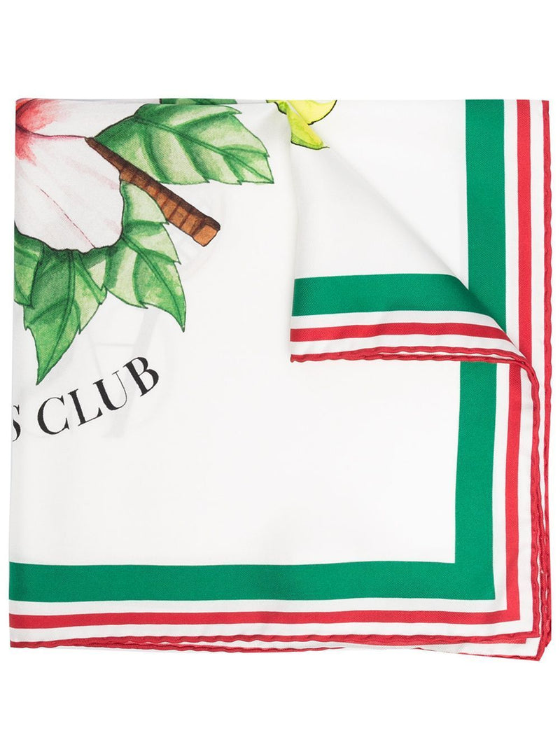 CASABLANCA Tennis Club Silk Scarf White - Maison De Fashion