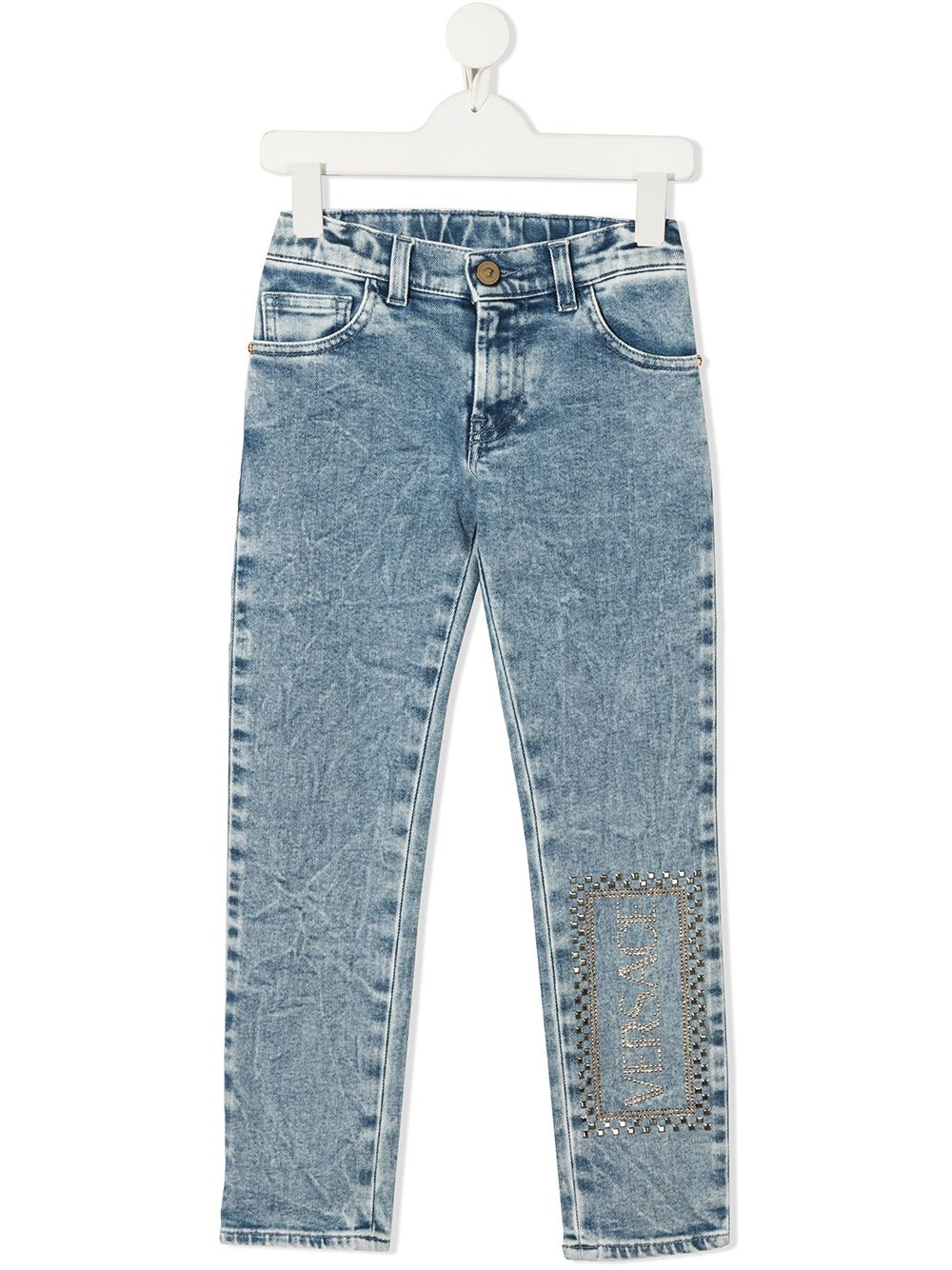 VERSACE KIDS Rhinestone Logo Denim Jeans Blue - Maison De Fashion